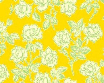 Heather Bailey Pop Garden fabric collection called Wallpaper Roses in Gold, 1 Yard