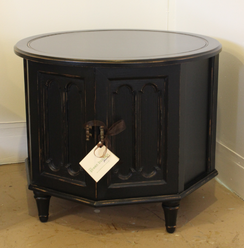 Round Vintage End Table With Lots Of Storage Painted In General