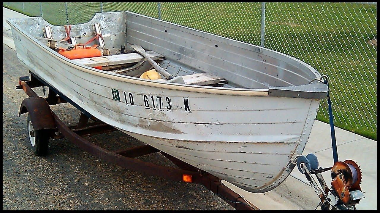 Boat restoration project before aluminum fishing