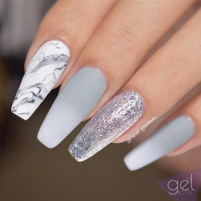Fancy White Coffin Nails Designs See More Http Glaminati
