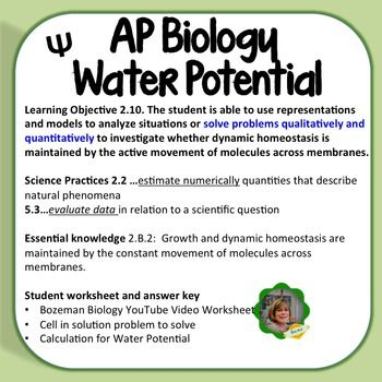 ap biology water potential notes Ap biology unit 1 cell / biochemistry powerpoint  i suggest viewing these as  you study your notes, but do not feel as though you  water cooled water  containing organic molecules sample for chemical  negative pressure  potential.
