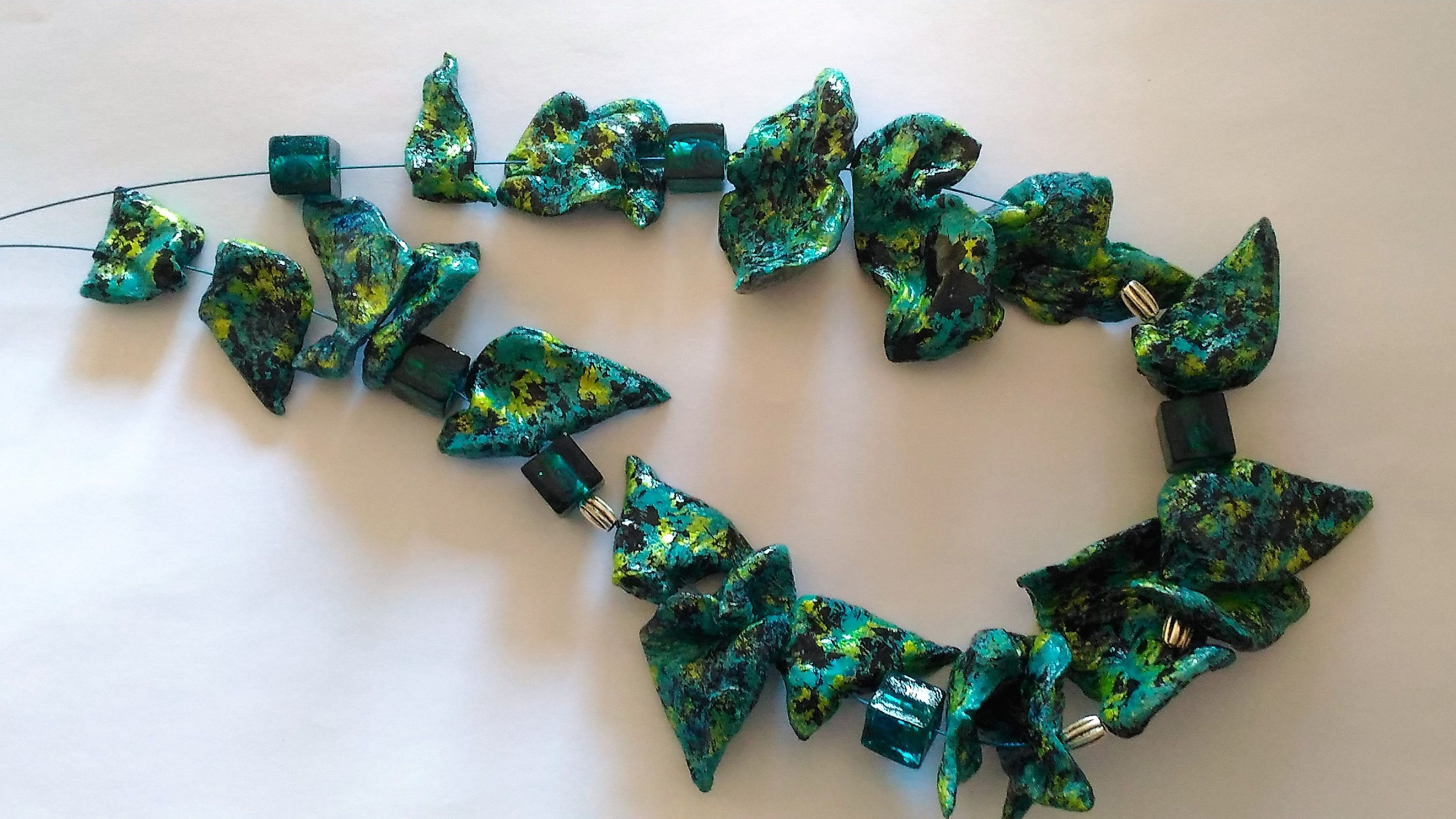 Handmade Necklace Paper Mache Beads Turquoise Iridescent Green By Cartalexitaly On Etsy Diy Necklace Making Handmade Necklaces Diy Necklace