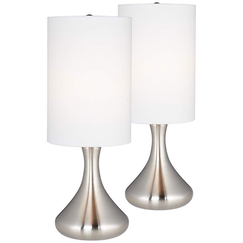 Melmore Brushed Nickel Mini Droplet Table Lamp Set Of 2 16y74 Lamps Plus Table Lamp Sets Lamp Sets Lamp