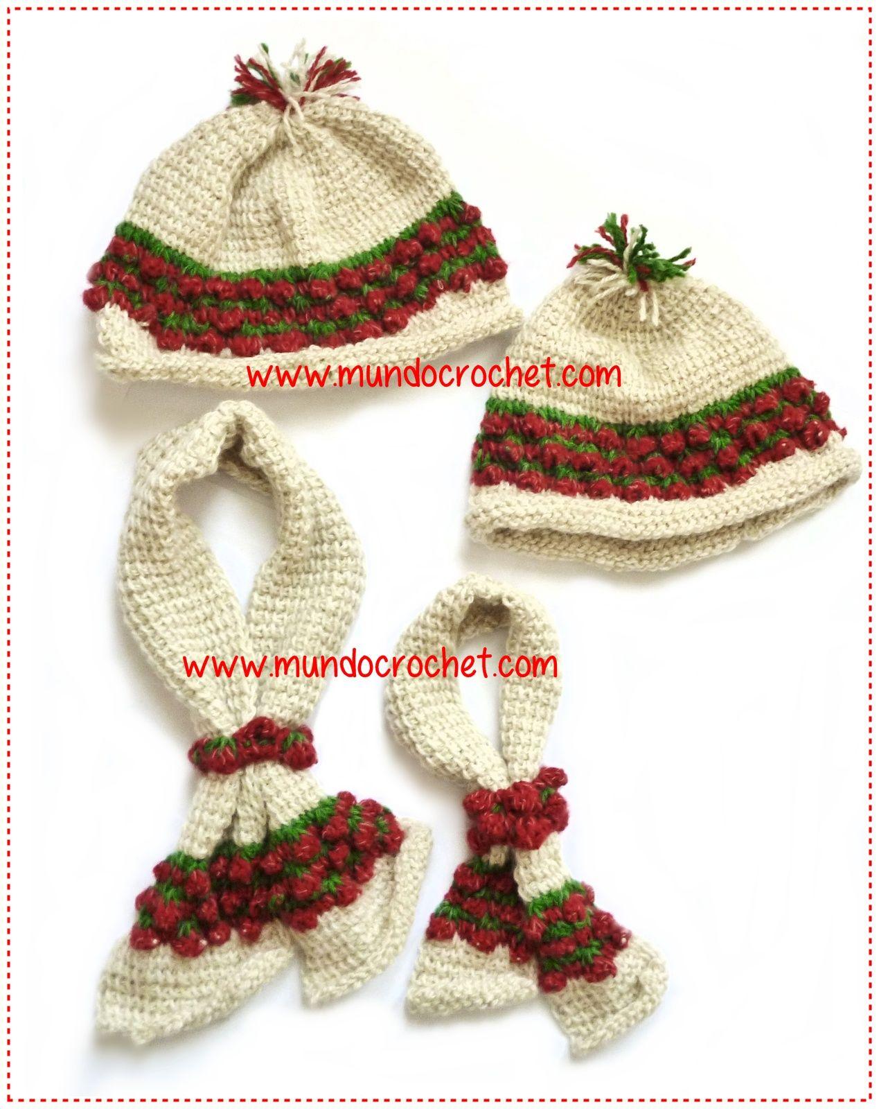 gorro bufanda punto frutilla crochet o ganchillo2 | Cosas para ...