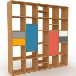 Photo of Wohnwand Eiche – Individuelle Designer-Regalwand: Schubladen in Grau & Türen in Blau – Hochwertige M