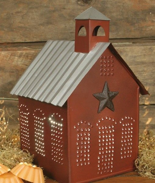 Punched tin schoolhouse light