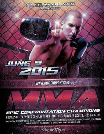 Free Mma Boxing Sports Flyer Template  HttpFreepsdflyerCom