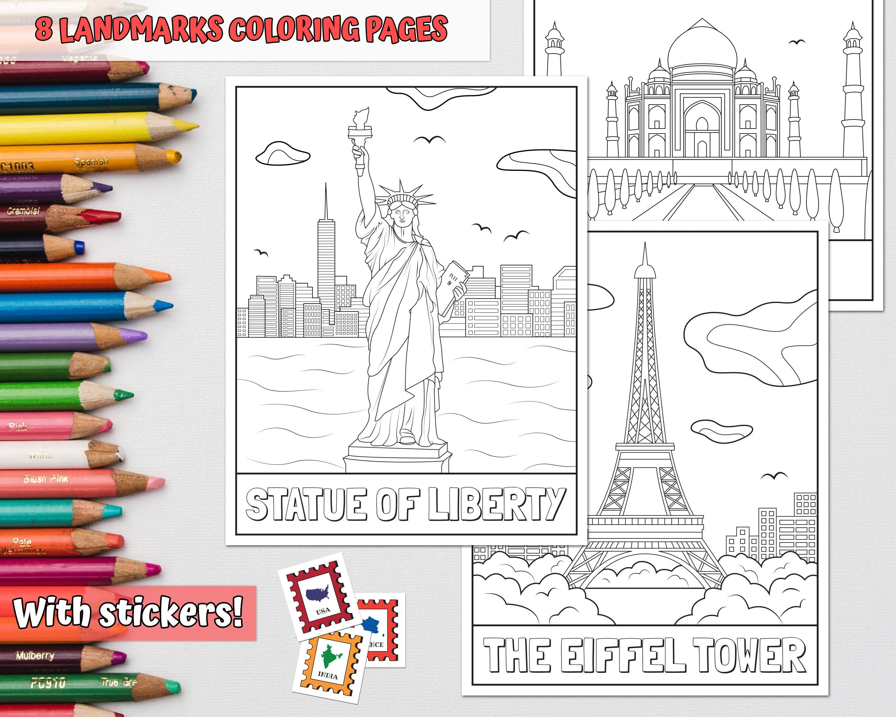 Landmark Coloring Pages Printable Travel Coloring Book Etsy Coloring Pages Coloring For Kids Animal Coloring Books