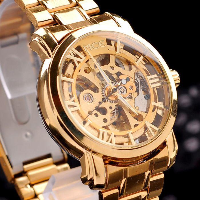 brand MCE!unisex golden Steel Luxury christmas gift watch/AUTOMATIC Watch Gold Skeleton Mechanical watch original gift box $19.99