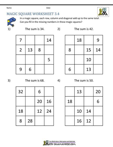 Math Magic Square Worksheet Gambarin Us Post Date 07 Nov 2018 78 Source Http Www Math Salamande Magic Squares Math Magic Squares Maths Puzzles