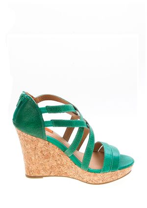 c69f4f9ea84c Kiara - Green leather and cork platform sandal with zipper back by Miz Mooz