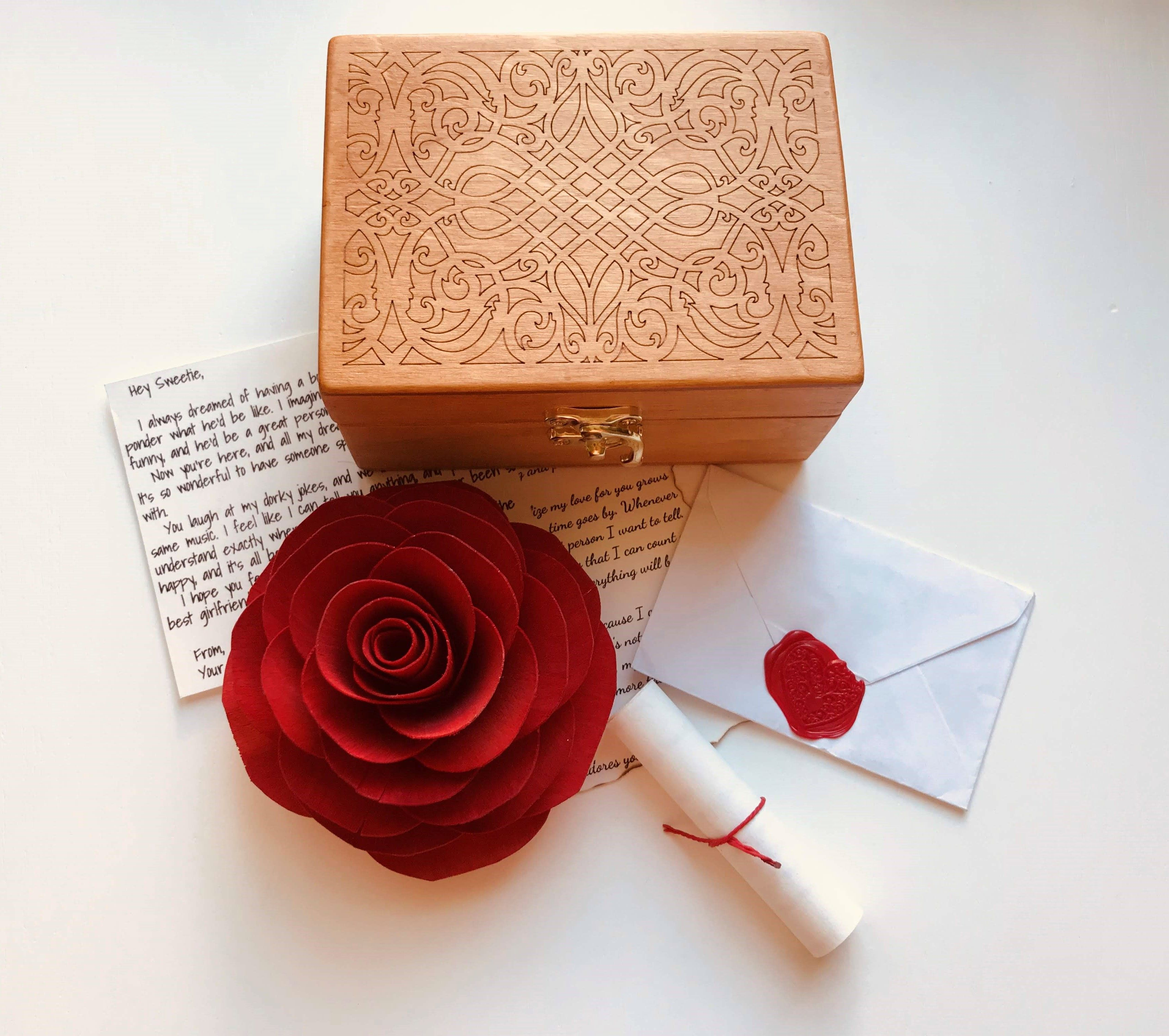Romantic 1st anniversary love letter wooden rose special