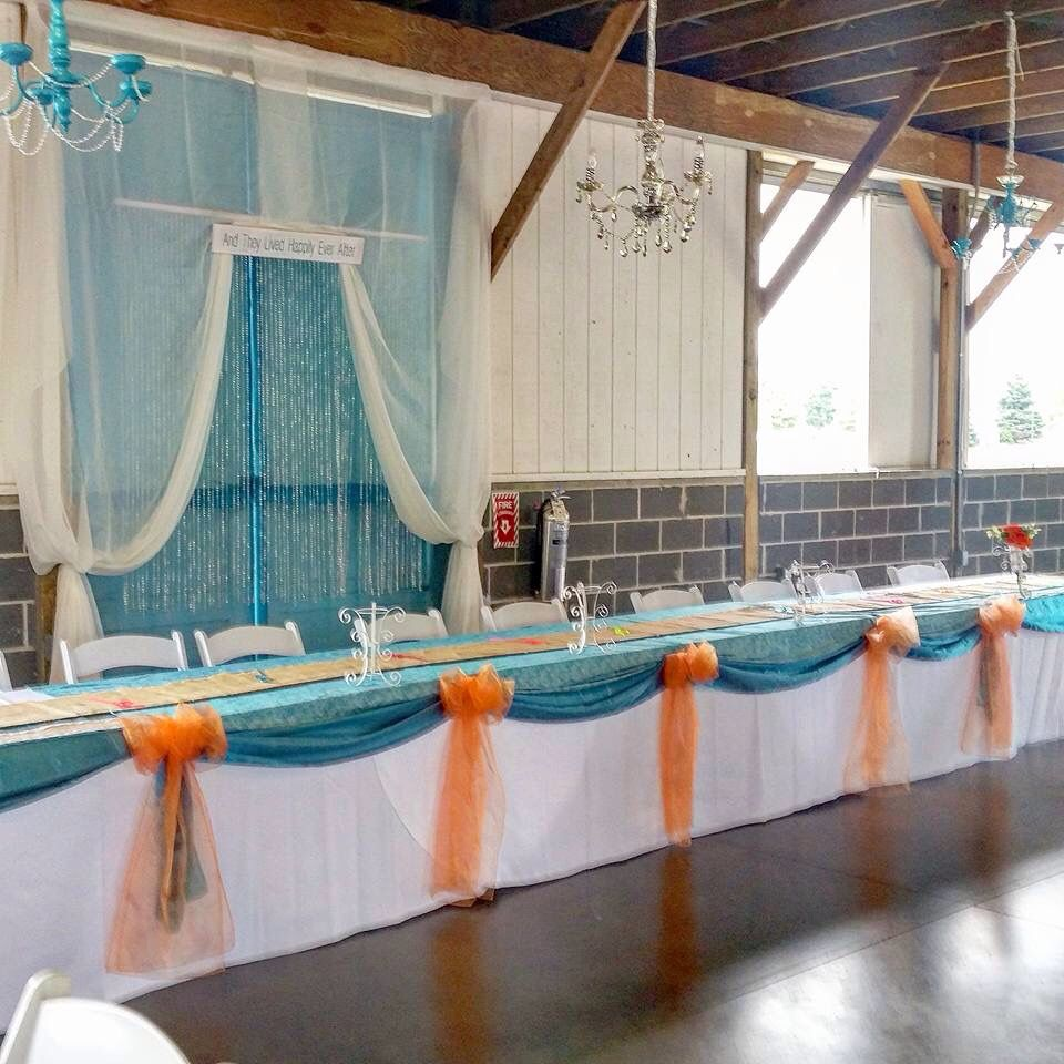 Teal Wedding Ideas For Reception: Head Table. Reception. Rustic Barn Wedding. Teal And