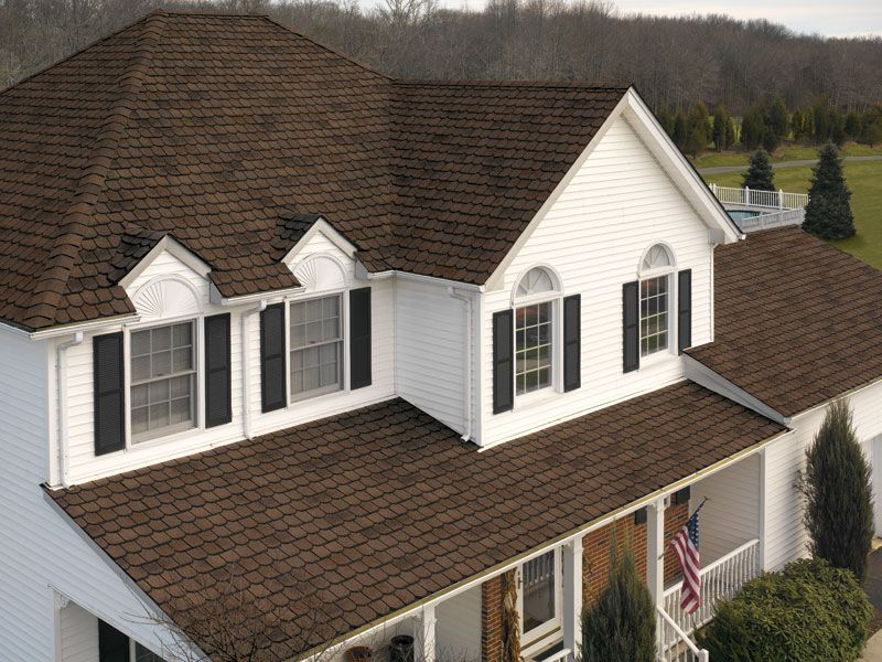 Best White House Black Shutters Brown Roof Brown Roofs 400 x 300