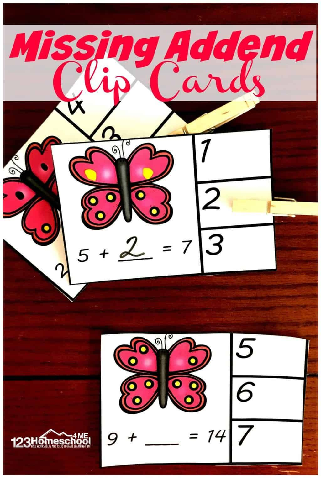 Butterfly Missing Addend Clip Cards