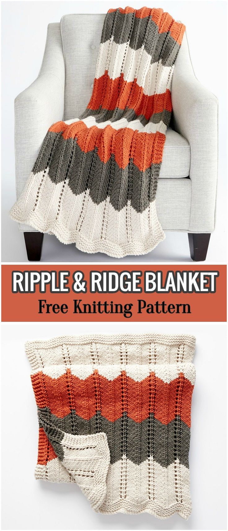 Ripple & Ridge Blanket - Free Knitting Pattern | Pinterest | Manta ...