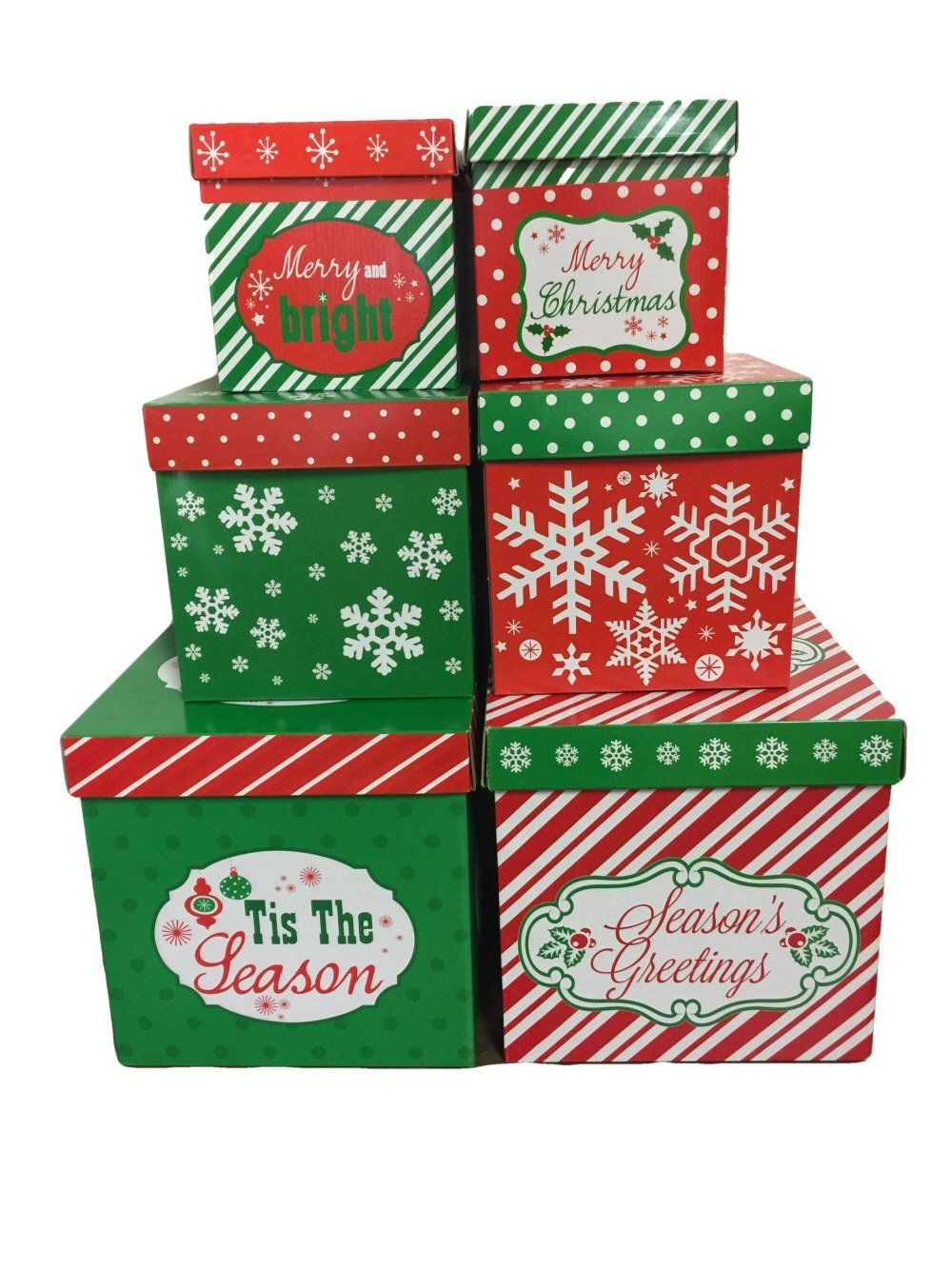 6 christmas gift boxes w lids nesting tiered cubes for
