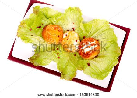 #ItalianCuisine - #Plate with #grilled #slices of #scamorza #cheese, on #lettuce bed. -  #stockphoto #Shutterstock