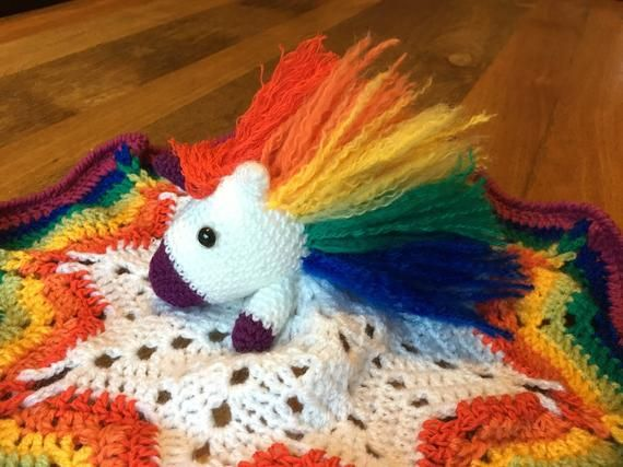 Rainbow Unicorn Security Blanket Crochet Pattern #securityblankets