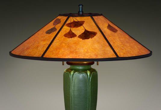 Mica Lamp Shade With Ginkgo Leaves Orange Mica 19 5 Craftsman Lamps Lamp Lamp Shade