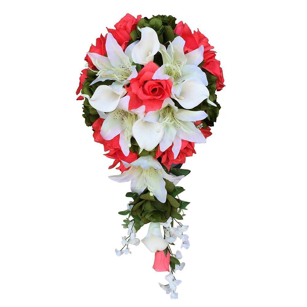 Cascade bouquetcoral roses with lily and calla lily artificial cascade bouquetcoral roses with lily and calla lily artificial flowers izmirmasajfo