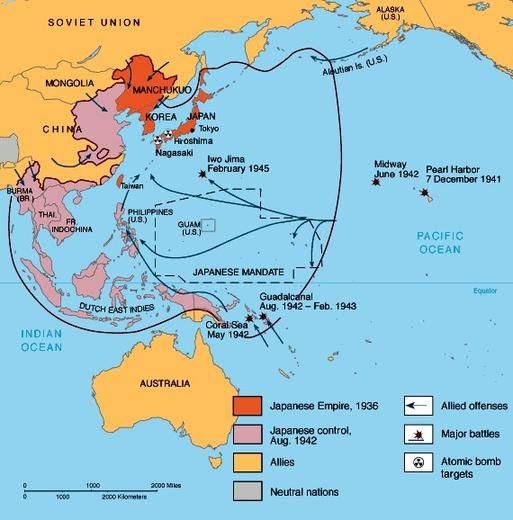 World War II Map Asia | World War II in Asia and the Pacific, 1941 ...