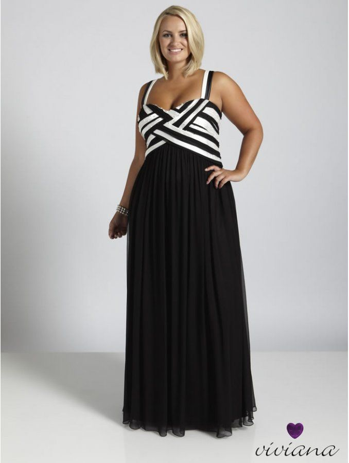 Viviana Long Evening Dress Blackwhite Generous Viviana Size 14