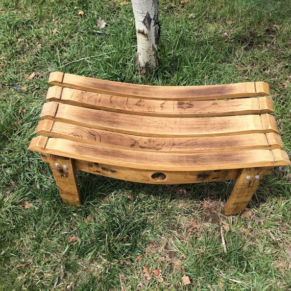 Bench made from repurposed wine barrel staves