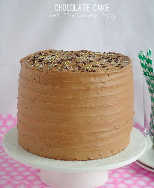 Six-Layer Chocolate Cake with Toasted Marshmallow Filling and Malted Chocolate Frosting @Blahnikbaker