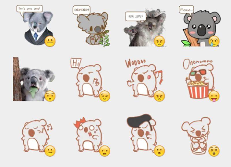Koala stickers set consigue y descarga increíbles y fantásticos stickers gratis para la aplicación telegram