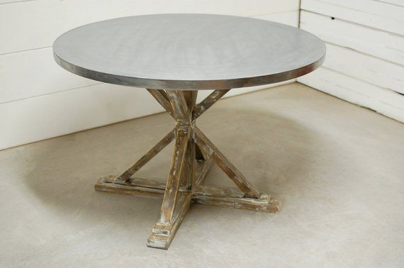 Gentil Round Zinc Dining Table, Industrial Dining Table, Zinc Table Top, Kitchen  Table, Industrial Furnitur