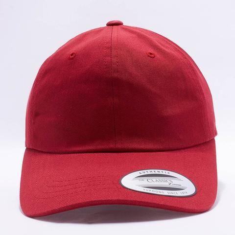 Flexfit Yupoong 6245CM Low Profile Cotton Twill (Dad Cap)  Unstructured    Cranberry  Contents 100% CottonSizes  One Size Fits. 9447c06c1c90