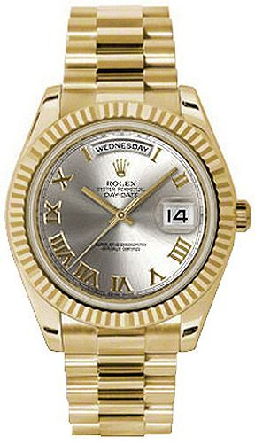 04243980f52f5 Rolex Watches Collection For Men   Rolex Day-Date 41 Silver Roman Numeral  Dial Mens