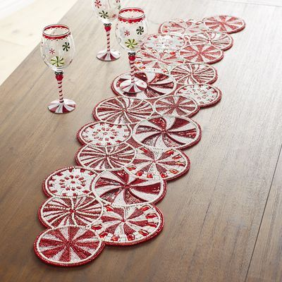 54 Peppermint Candy Cane Beaded Table Runner Pier 1 Imports Table Runners Creative Crafts Peppermint Candy Cane