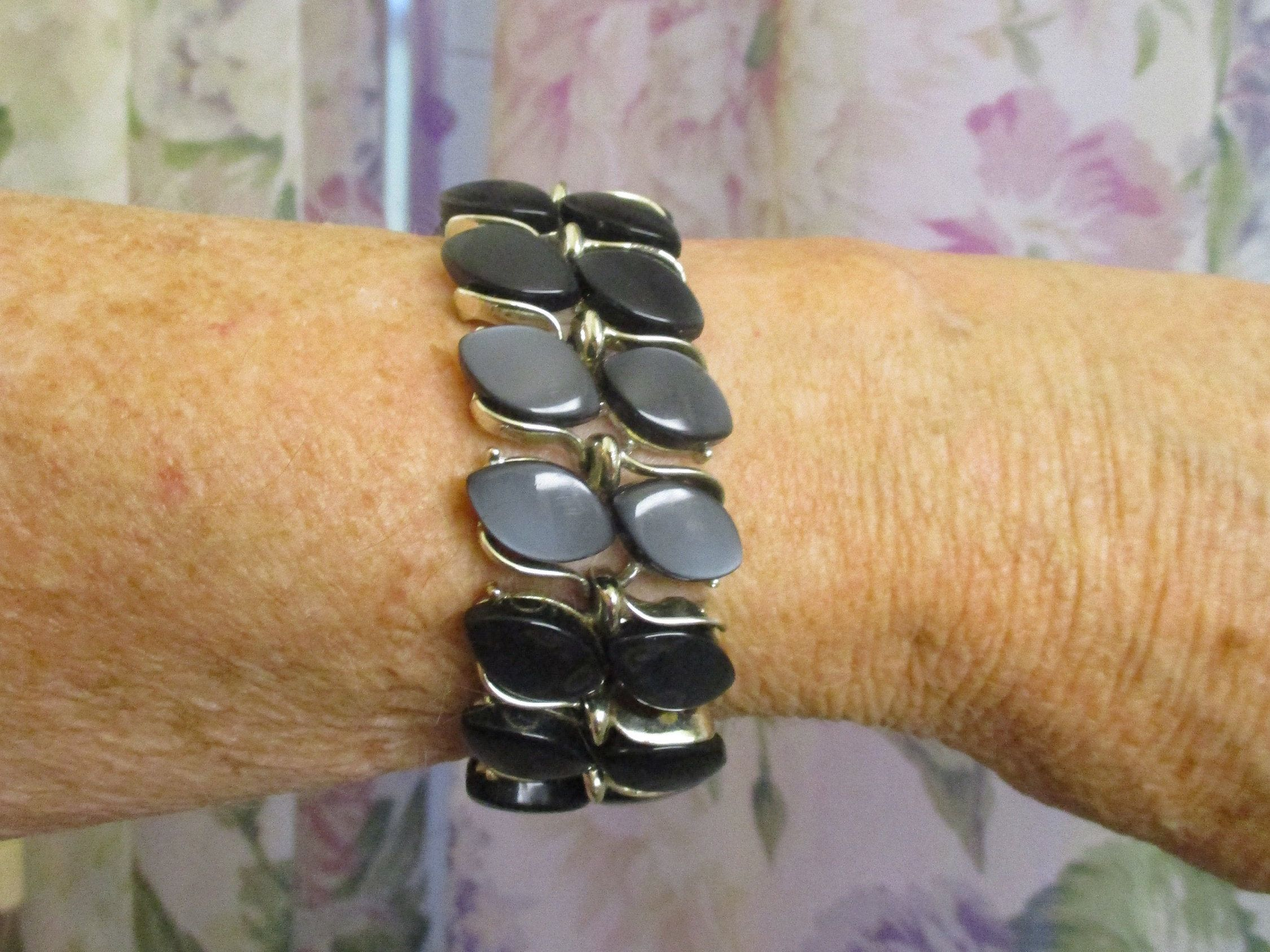 1950/'s Impressive Bracelet and Earrings Set with Blue Thermoset Stones