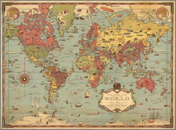 Kids 1931 World Map Vintage Map Wall Art World Map Wall Art World Map Canvas