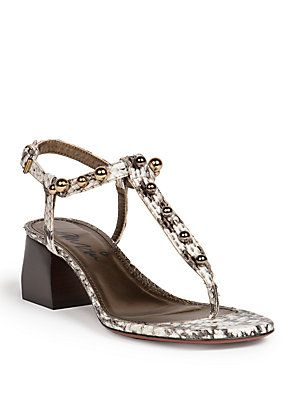 c2af97c75af116 Lanvin Snakeskin Block-Heeled Sandals