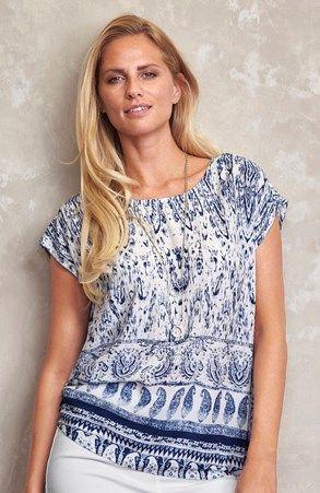 Mega seje Cellbes Bluse Blå Hvid Cellbes Toppe til Damer i fantastisk kvalitet