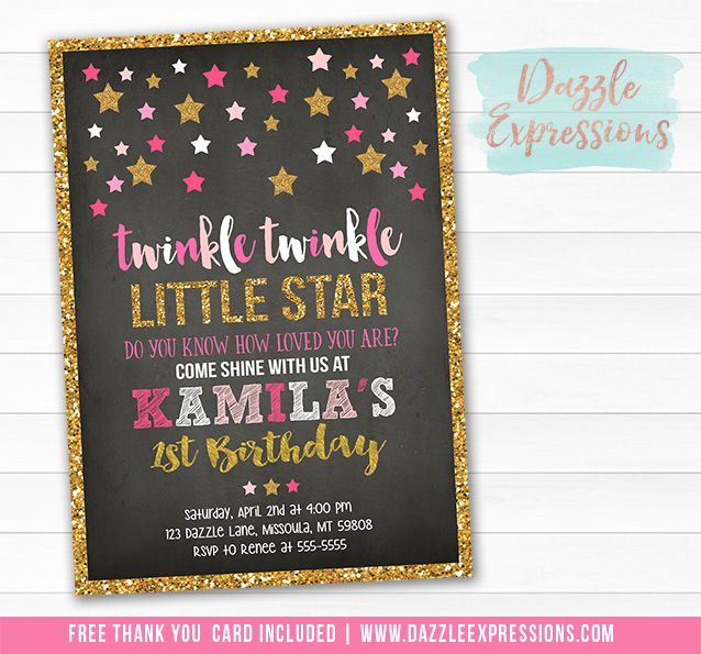 Printable Pink and Gold Glitter Chalkboard Twinkle Little Star - invitation for 1st birthday party girl