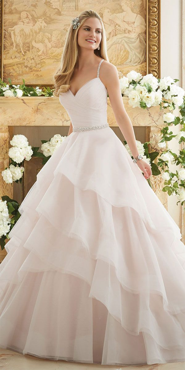3803d6545 Elaborately Beaded Crystal Straps on a Billowy Tulle Ball Gown Wedding Dress