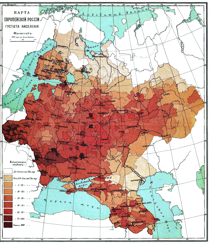 Population density of Russian Empire European side 1893