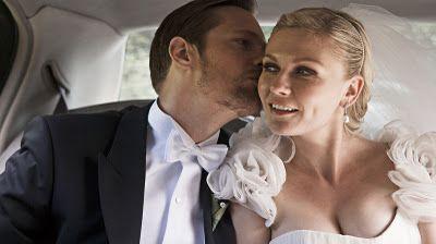 amazing wedding dress, handsome groom - melancholia