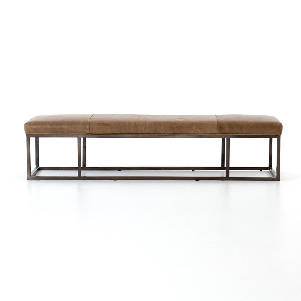 Beaumont Leather Bench In Dakota Warm Taupe By Bd Studio