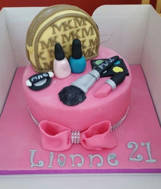 Pink Sparkle Make Up 21st Birthday Cake