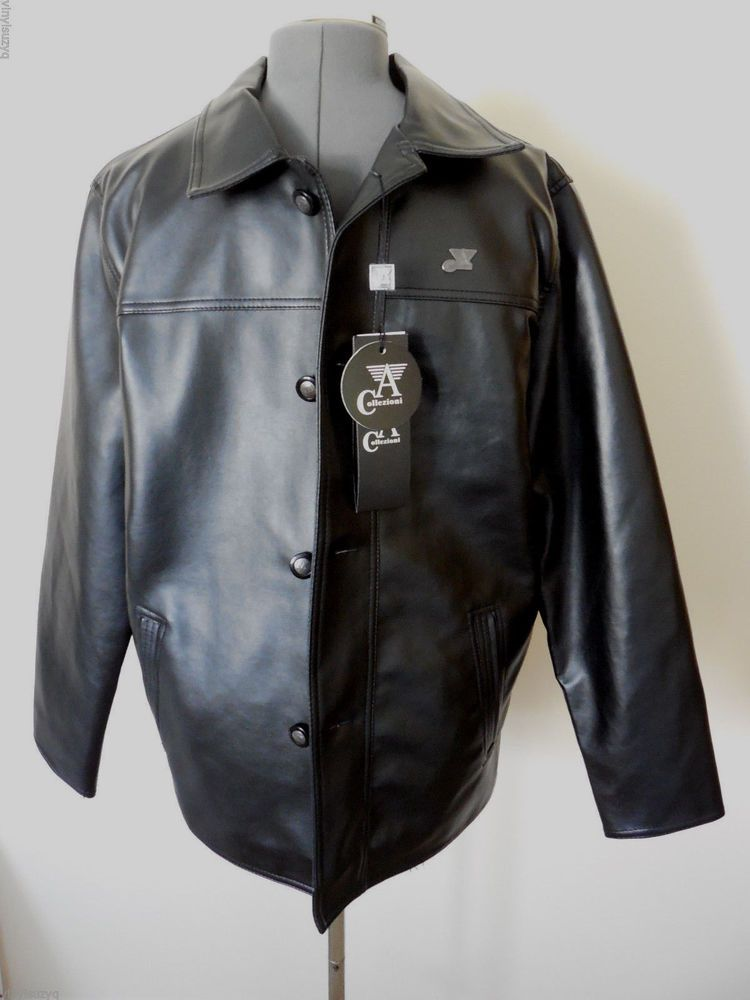 667622ac6 Mens Black Armani (A) Collezioni Leather Jacket New Collection Sz M ...