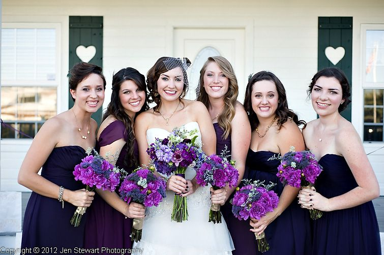 different purple dresses