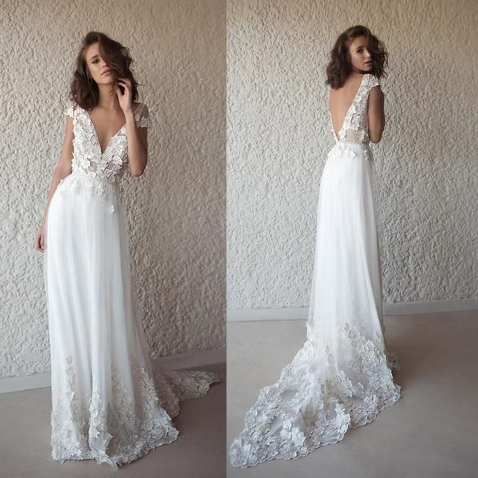 Applique Vintage Backless Beach Wedding Dresses, Tulle V-Neck Wedding Gowns #eveninghair