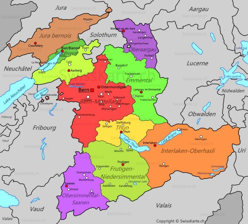 Map Of Canton Of Bern Canton Of Bern Map Bern