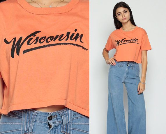 45899969f35bc Wisconsin Shirt Cropped TShirt Retro T Shirt 80s Crop Top Orange Graphic US  State Vintage T Shirt Tee 1980s Medium