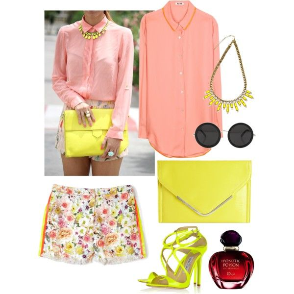 A fashion look from September 2013 featuring button down blouse, floral print shorts and strap sandals. Browse and shop related looks.